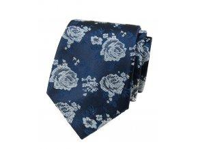 Kravata Avantgard Lux - modrá / bílé růže