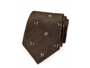 Kravata Avantgard Lux - hnědá / pes