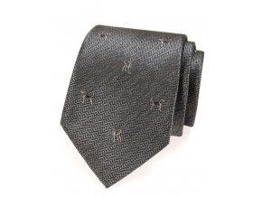 Kravata Avantgard Lux - šedá / pes