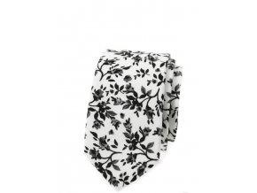 Úzká luxusní kravata Avantgard bavlněná - bílá s černými květy
