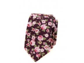 Úzká luxusní kravata Avantgard bavlněná - vínová s květy