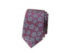 Úzká kravata Avantgard Lux - růžová / šedé květy