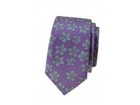 Úzká kravata Avantgard Lux - fialová / šedé květy