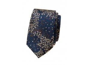Úzká kravata Avantgard Lux - modrá / hnědá