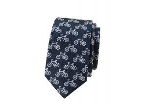 Úzká luxusní kravata Avantgard - modrá / kola