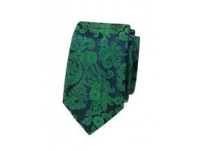 Úzká kravata Avantgard Lux - zelená / modrá