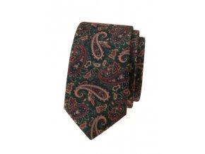 Úzká kravata Avantgard Lux - zelená / hnědá
