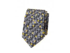 Úzká luxusní kravata Avantgard - šedá / žlutá