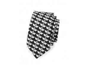 Úzká luxusní kravata Avantgard - černá / bílá
