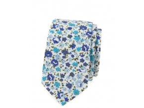 Úzká luxusní kravata Avantgard - s květy