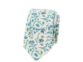Úzká kravata Avantgard Lux - s květy