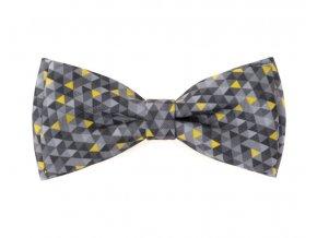 Dvojitý motýlek Avantgard s kapesníčkem - šedá / žlutá