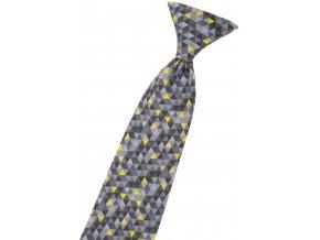 Chlapecká kravata Avantgard - šedá / žlutá