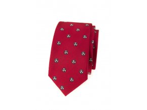 Úzká luxusní kravata Avantgard - červená / fotbal