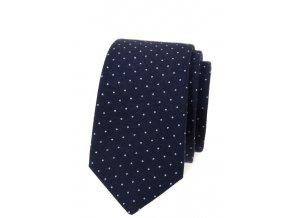 Úzká luxusní kravata Avantgard - modrá / puntík
