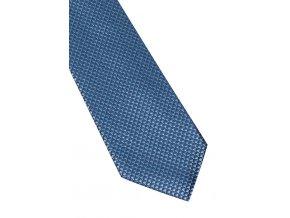 Úzká hedvábná kravata Eterna - modrá s jemnou strukturou