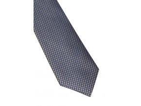 Úzká hedvábná kravata Eterna - modrá / béžová  s jemnou strukturou
