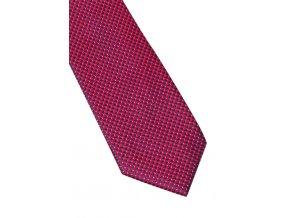 Úzká hedvábná kravata Eterna - červená / modrá s jemnou strukturou