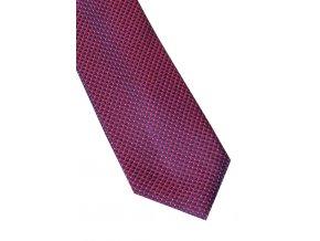 Úzká hedvábná kravata Eterna - bordó / modrá s jemnou strukturou