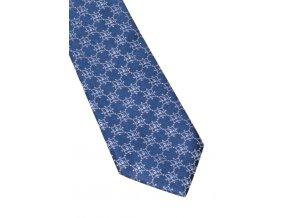 Úzká hedvábná kravata Eterna - modrá se vzorem