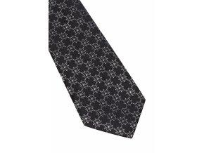 Úzká hedvábná kravata Eterna - černá se vzorem
