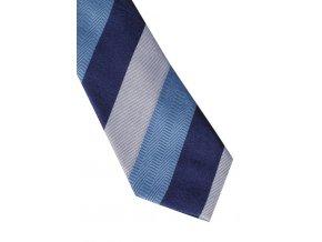 Úzká hedvábná kravata Eterna - pruhovaná modrá