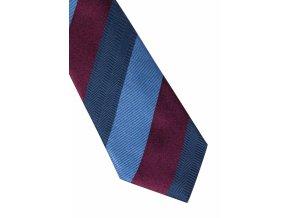Úzká hedvábná kravata Eterna - pruhovaná navy / bordó
