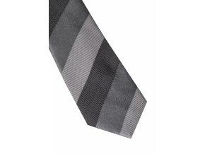 Úzká hedvábná kravata Eterna - pruhovaná černá / šedá