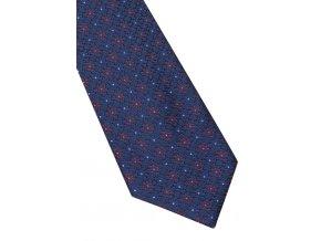 Hedvábná kravata Eterna - navy s červenými kvítky