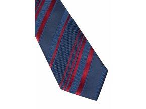 Hedvábná kravata Eterna - modrá s červenými pruhy