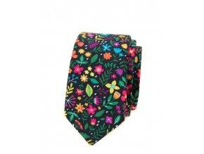 Úzká luxusní kravata Avantgard - černá / barevné květy