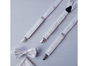 Ivory sada - motýlek Classic s kapesníčkem a šle