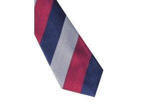 Úzká hedvábná kravata Eterna - pruhovaná navy / červená