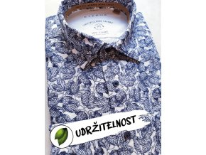 "Košile Eterna Slim Fit ""Popeline"" Upcycling Shirt modrý vzor - chmel"