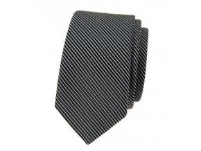 Úzká kravata Avantgard - pruhovaná černá / šedá