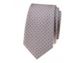Úzká luxusní kravata Avantgard - šedá / červený puntík