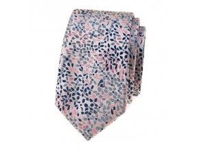 Úzká luxusní kravata Avantgard - růžová / šedé květy