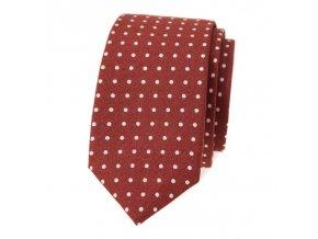 Úzká luxusní kravata Avantgard - skořicová / puntík