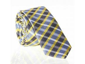 Extra úzká vzorovaná kravata Le Dore - žlutošedá
