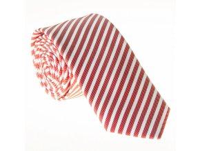Úzká proužkovaná kravata Le Dore - červenobílá