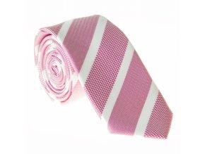 Úzká proužkovaná kravata Le Dore - růžovobílá