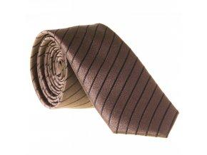 Úzká proužkovaná kravata Le Dore - tmavě hnědá