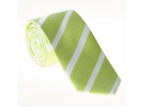 Úzká proužkovaná kravata Le Dore - zelenobílá