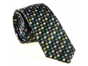 Úzká vzorovaná kravata Le Dore - zelenošedá