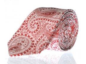 Úzká vzorovaná kravata Le Dore - červená