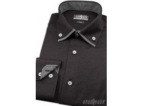 Kombinovaná košile Avantgard Slim - černá