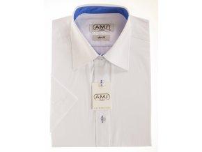 Pánská košile AMJ Classic Slim s krátkým rukávem - bílá