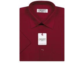 Pánská košile AMJ Classic s krátkým rukávem - vínová
