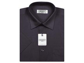 Pánská košile AMJ Classic s krátkým rukávem - tmavě šedá