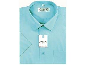 Pánská košile AMJ Classic s krátkým rukávem - tyrkysová